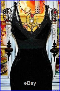 Betsey Johnson VINTAGE Dress CRUSHED VELVET Black Lace Slip Evening Party M 8 10