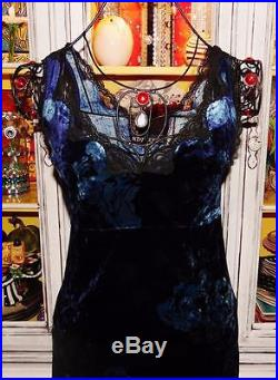 Betsey Johnson VINTAGE Dress CRUSHED VELVET Blue ROSE Floral LACE Slip S 2 4 6