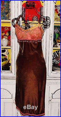 Betsey Johnson VINTAGE Dress CRUSHED VELVET Brown LACE Beaded SLIP Pink M 6 8