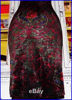 Betsey Johnson VINTAGE Dress CRUSHED VELVET Gray ROSE Franky TATTOO Slip S 2 4 6
