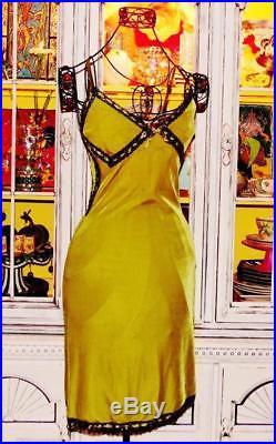 Betsey Johnson VINTAGE Dress CRUSHED VELVET Green BLACK LACE Pinup Slip S 2 4 6