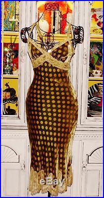 Betsey Johnson VINTAGE Dress CRUSHED VELVET Green POLKA DOT Lace SLIP 6 S 8