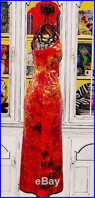 Betsey Johnson VINTAGE Dress CRUSHED VELVET Orange TIE DYE Long SLIP Maxi S 2 6