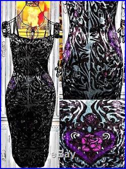 Betsey Johnson VINTAGE Dress CRUSHED VELVET Silver ROSE Tattoo FRANKY Slip M 6