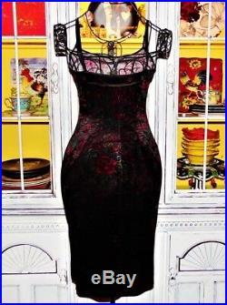 Betsey Johnson VINTAGE Dress Crushed VELVET Franky TATTOO Slip Party Mod S 2 4 6