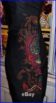 Betsey Johnson VINTAGE Dress DRAGON IN FIRE FLAMES Black TATTOO Slip M 6 8 10
