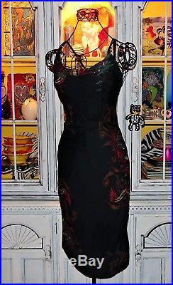 Betsey Johnson VINTAGE Dress DRAGON IN FIRE FLAMES Black TATTOO Slip M 6 8 10