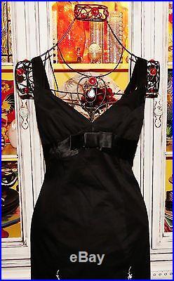 Betsey Johnson VINTAGE Dress EMBROIDERED Black Lycra Cotton Slip Sheath 10 M