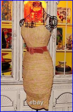 Betsey Johnson VINTAGE Dress FLORAL MESH Pink Gold Ruched WIGGLE Retro Party 2 S