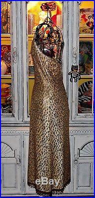 Betsey Johnson VINTAGE Dress GOLD SHIMMER Slinky LEOPARD Beaded SLIP Rare M 8 10