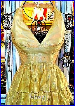 Betsey Johnson VINTAGE Dress Gold RUFFLE Layered Cocktail Evening Party Prom 2 S