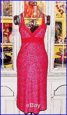 Betsey Johnson VINTAGE Dress LEOPARD Animal HOT PINK Pinup LACE Slip S 2 4 6