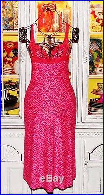 Betsey Johnson VINTAGE Dress LEOPARD Animal HOT PINK Pinup LACE Slip S 2 4 6