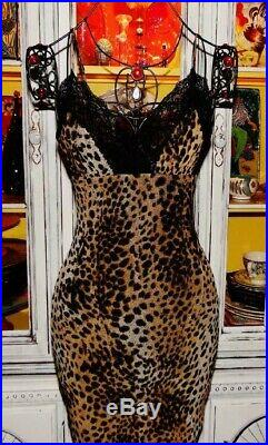 Betsey Johnson VINTAGE Dress LEOPARD Animal Print BLACK LACE Pinup Slip M 4 6 8