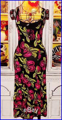 Betsey Johnson VINTAGE Dress PINK CHERRIES Black SLIP Floral Cherry XS S 0 2 4 6