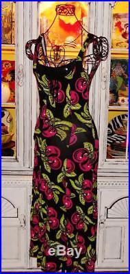 Betsey Johnson VINTAGE Dress PINK CHERRIES Black SLIP Floral Cherry XS S 0 2 4 6