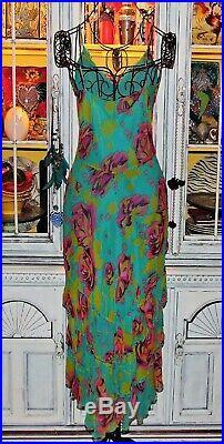 Betsey Johnson VINTAGE Dress PINK ROSE Floral Blue SILK Layered Pinup Slip 10 M