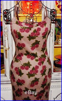 Betsey Johnson VINTAGE Dress PINK ROSE Taupe ANGORA WOOL Sweater SLIP M 6 8