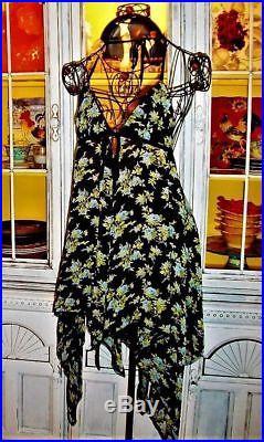 Betsey Johnson VINTAGE Dress ROSE Black Bikini COVER UP Floral SLIP S M 2 4 6 8