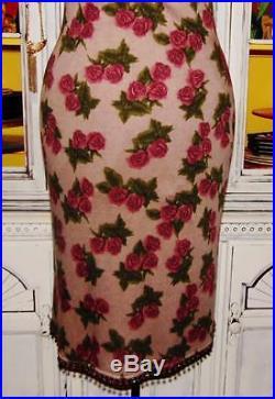 Betsey Johnson VINTAGE Dress ROSE FLORAL Taupe ANGORA WOOL Sweater SLIP M 6 8