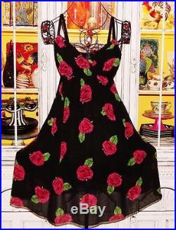 Betsey Johnson VINTAGE Dress ROSE Floral CHIFFON Wrap FIT & FLARE Black Slip 8 M