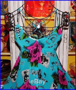 Betsey Johnson VINTAGE Dress ROSE Floral PHOTO JEWELRY Print FLARE Blue SLIP 2 S