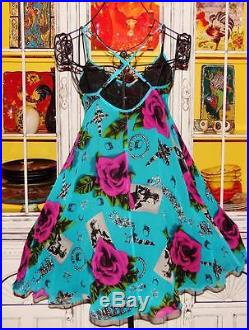 Betsey Johnson VINTAGE Dress ROSE Floral PHOTO JEWELRY Print FLARE Blue SLIP 2 S