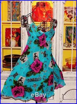 Betsey Johnson VINTAGE Dress ROSE Floral RUNWAY Photo FIT & FLARE Blue SLIP 2 S