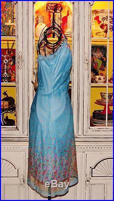 Betsey Johnson VINTAGE Dress SHEER MESH Blue ROSE GARDEN Floral SLIP Lace M 6 8