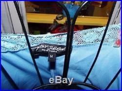 Betsey Johnson VINTAGE Dress SHEER NET Blue ROSE GARDEN Floral SLIP Lace M 6 8