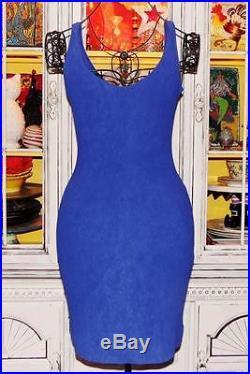 Betsey Johnson VINTAGE Dress SLINKY Blue BODYCON Stretch SHEATH Slip S 2 4 6