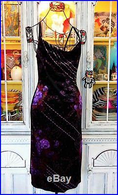Betsey Johnson VINTAGE Dress STRETCH CRUSH VELVET Black FLORAL ROSE Slip L 10 12