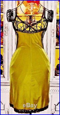 Betsey Johnson VINTAGE Dress STRETCH CRUSHED VELVET Black LACE Slip S 2 4 6