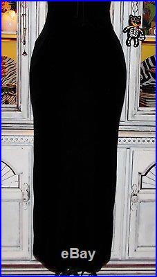 Betsey Johnson VINTAGE Dress STRETCH CRUSHED VELVET Black SLIP Maxi P S 2 4 6