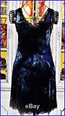 Betsey Johnson VINTAGE Dress STRETCH CRUSHED VELVET Blue ROSE Floral Slip S 4 6