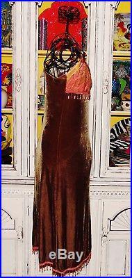 Betsey Johnson VINTAGE Dress STRETCH CRUSHED VELVET Brown LACE Bead SLIP M 6 8