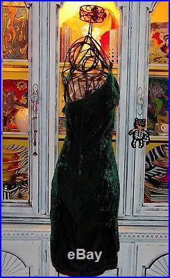 Betsey Johnson VINTAGE Dress STRETCH CRUSHED VELVET Green BODYCON Slip L 8 10 12