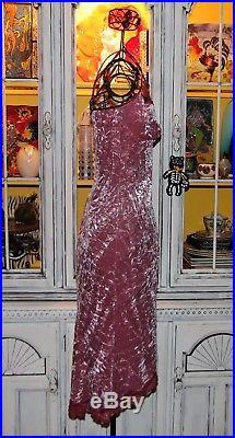 Betsey Johnson VINTAGE Dress STRETCH CRUSHED VELVET Lace Trim PINK Slip S 4 NWT