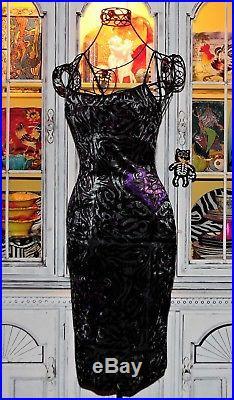 Betsey Johnson VINTAGE Dress STRETCH CRUSHED VELVET Rose TATTOO FRANKY Slip M 6