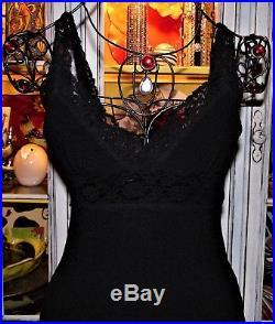 Betsey Johnson VINTAGE Dress TEXTURED Black STRETCH Lace Details SLIP S 2 4 6