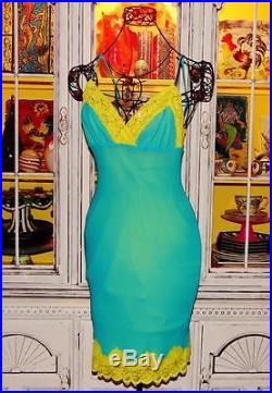 Betsey Johnson VINTAGE Dress TURQUOISE Blue HOT YELLOW LACE Pinup Slip S 2 4 6