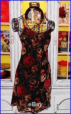 Betsey Johnson VINTAGE Dress VELVET BURNOUT Floral RED ROSE Black SLIP S 2 4 6