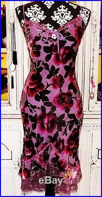 Betsey Johnson VINTAGE Dress VELVET BURNOUT Wine ROSE Lilac FLORAL Lace SLIP 6 S
