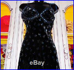 Betsey Johnson VINTAGE Dress VELVET Blue ROSEBUD Slip FLORAL Rose Black S 2 4 6