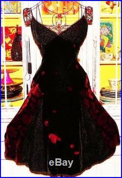 Betsey Johnson VINTAGE Dress VELVET Floral ROSE Black FIT FLARE Burnout Slip 4 S
