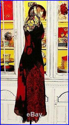Betsey Johnson VINTAGE Slip Dress RED ROSE Floral Black Cocktail Party 12 M L