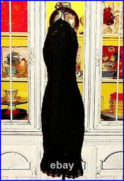Betsey Johnson VINTAGE Sweater Dress OPEN KNIT Black Sheath Pinup Evening 2 4 6