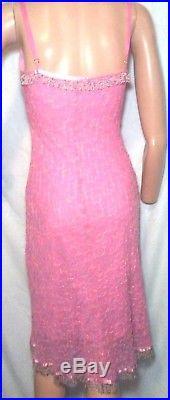 Betsey Johnson VTG 90s Sz S Silk Embroidered Pink Floral Slip Dress Beaded Midi