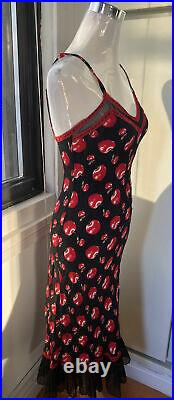 Betsey Johnson Vintage 90s Chic Slip Bias Cut Dress Apple Print Sz M