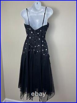 Betsey Johnson Vintage 90s Chic Slip Punk Goth Dress Black Sequins Size 6 Small